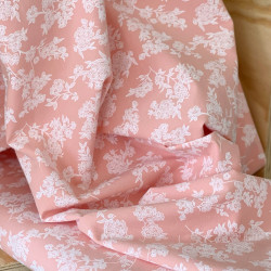 Washed Cotton Salmon Flower