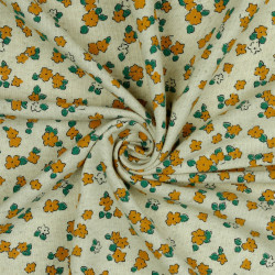 Linnen Jersey Mini Flower Oker