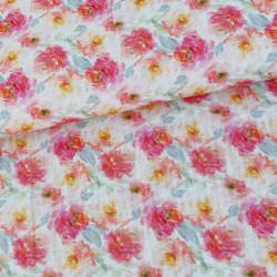 Mousseline Bloemen Roos