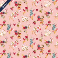 Coated Cotton Flowery Pink