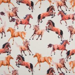 Viscose Twill Horses Terra