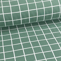 Sweat Brushed Grid GOTS Green