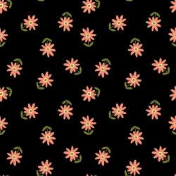 Poplin Happy Flower Zwart
