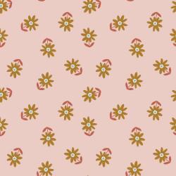 Poplin Happy Flower Zalm